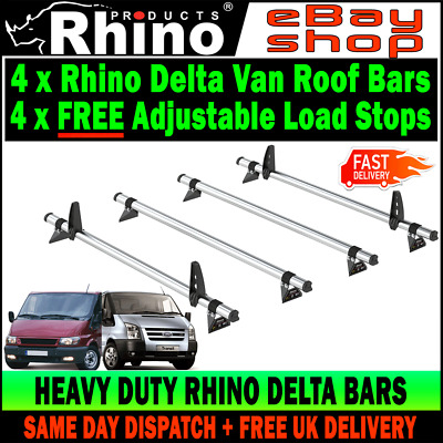 (SWB+MWB LOW-H1) Ford Transit Roof Rack Bars x4 Rhino Delta For 2000-2014 Vans