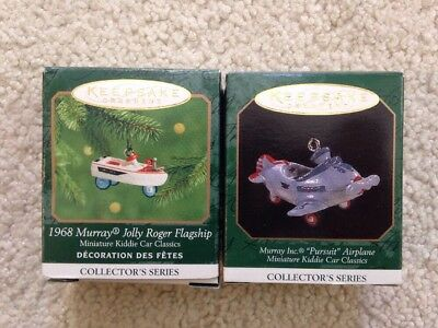 x2 HALLMARK KEEPSAKE MINIATURE ORNAMENT KIDDIE CAR Jolly Roger Pursuit Airplane
