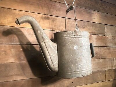 Antique Gas Can Garden Galvanized Water Bucket Flowers Pulley Farm Barn Station