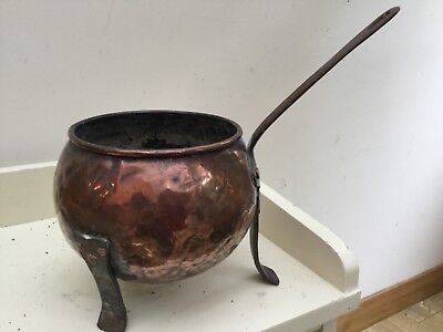 Vintage French Copper Pot Cauldron Planter With Handle and Feet