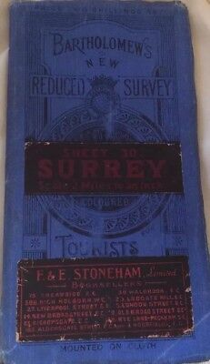 Vintage Map Wall Art Bartholomew's Tourist & Cyclist Map Surrey Linen Backed