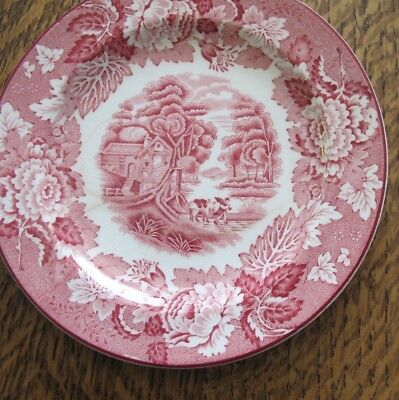 """Enoch Woods English Scenery Pink Plate 6"""" (Older, Smooth) by Wood & Sons"""