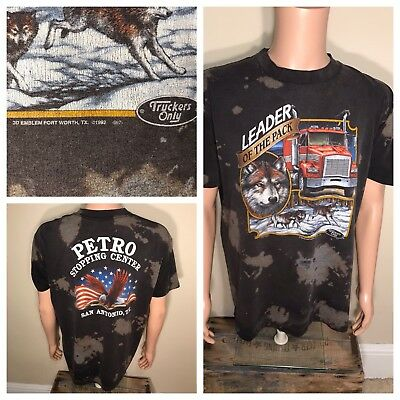 Vintage 1992 Harley Davidson 3D Emblem TShirt Leader of the Pack trucker faded