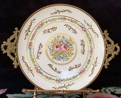 Late 19th Century FBS France Brass Framed Hand Painted Porcelain Plate
