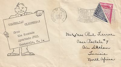 Guatemala: 1951: letter to Tunisie, North Africa
