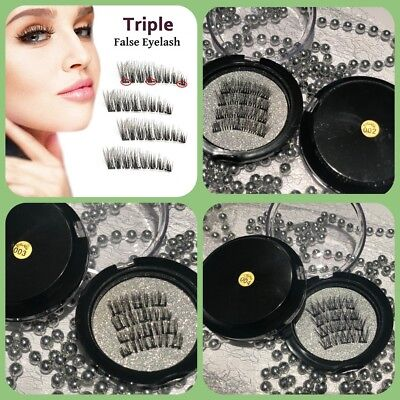 UK / 3D Triple Magnetic Eyelashes/Reusable False Magnet Eye Lashes