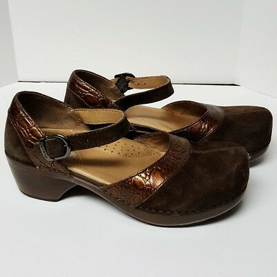 Dansko Leather Clog Shoes Women's Size 35 Ankle Strap Brown Suede Bronze Accent