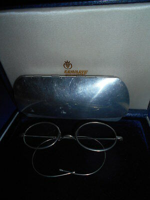 Antique silver tone oval frame  eyeglasses  Very Rare with box aluminum