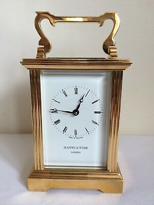 Mappin & Webb Brass 8 Day Carriage Mantle Clock A/f