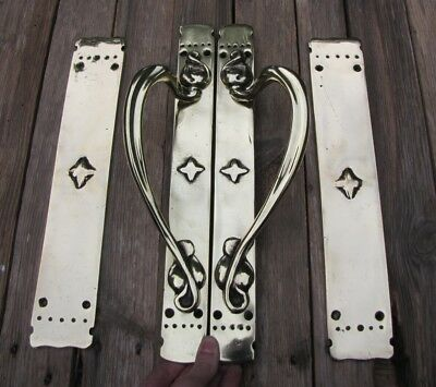 Large Heavy Reclaimed Vintage Pair of Door Handle Pulls and Finger Push Plates