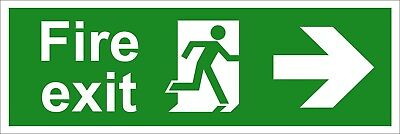 Fire Exit Safety Signs - Running Man Arrow Right (Various Sizes Available)