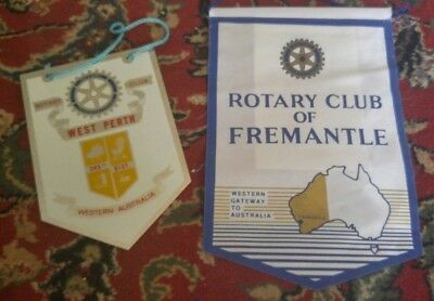 Vintage Tin West Perth and Fremantle Australia Rotary Club International Banners