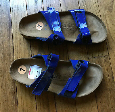 52d1410273f8 NEW Birkenstock Madura Birkis 2 Strap Blue Cobalt Leather Sandals sz 7 Hook  Loop