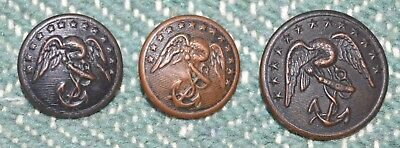 3 Antique US Navy Marines Button with Eagle and Anchor Evans & Co.