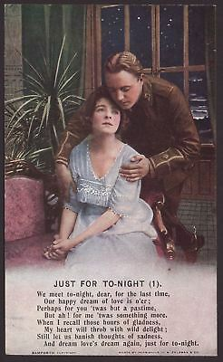 """WW1 Postcards. """"Just For To-Night""""  3 Part Bamforth Song Card Set. Series 4888."""