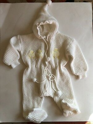Vintage Knit Baby Romper One Piece Hooded Pom White With Chicks
