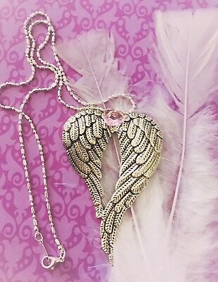 Angel Wings Necklace Guardian Angel Wings Heart Bespoke Large Angel Wings