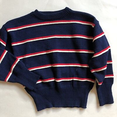 Vintage Knit Toddler Long Sleeve Sweater Blue Striped 5T 4T