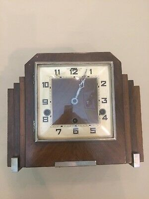 Art Deco, Skyscraper Shape, Wooden Mantle Clock, No Reserve