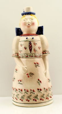 Vintage Antique Black Forest Germany Pottery Bavaria Woman Decanter Bottle Flask
