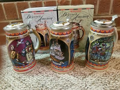 Complete Set Lot of 3 Budweiser Discover America Limited Edition Beer Steins