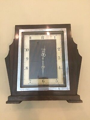 Smith Art Deco, Fan Shape, Electric Wooden Mantle Clock, No Reserve