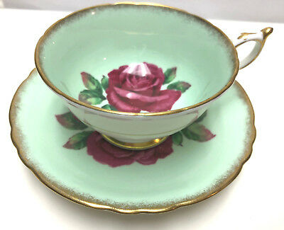 PARAGON RED LARGE ROSE TEA CUP & SAUCER in GREEN Artist Signed gold trim