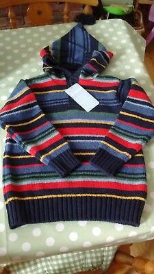JoJo Maman Bebe wool blend hooded jumper age 3-4 BNWT