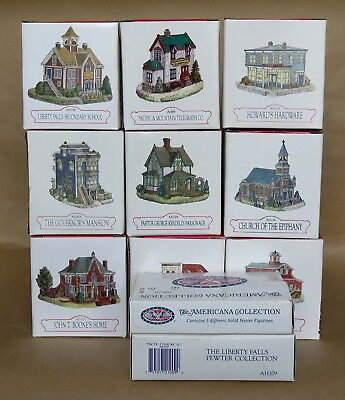 Liberty Falls ~ Lot of 9 Buildings & 2 Accessories  NEW, MINT IN BOXES  19 pcs