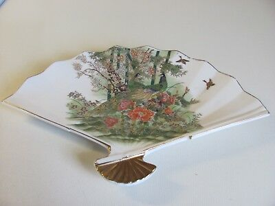 Vintage Porcelain Fan Plate made in Japan with Peacock Motif
