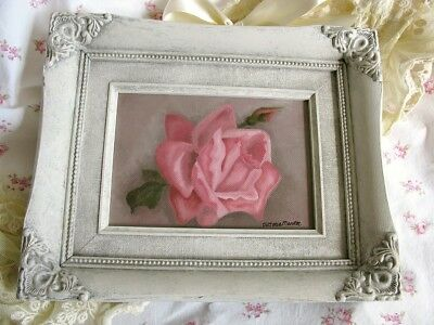 Pink Rose Oil Painting Shabby Chic Frame Roses Painting