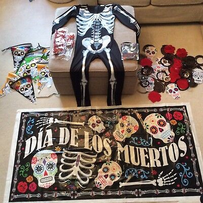 Day of the Dead Skeleton Costume And Decorations - Job Lot