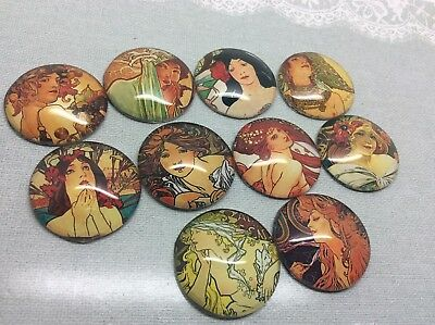 25mm Alphonse Mucha Art Handmade Dome Cabochons x 10 hobby craft jewellery diy