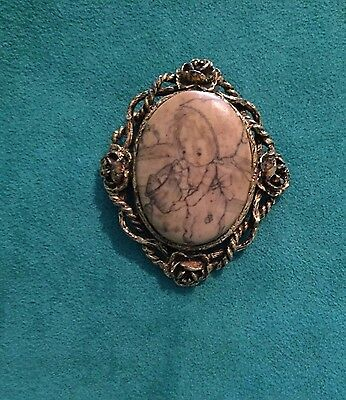Antique Looking Vintage Brass Brooch/Pendant Gold Toned 2.5 Inch Four Roses