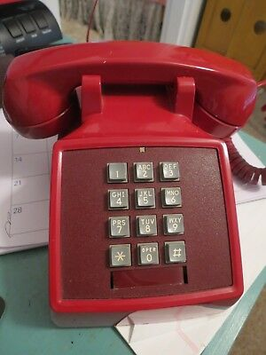 Vintage Red Desk Telephone Bell System Western Electric Push Button 2500Dm