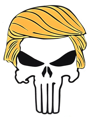 LARGE 4 x 5 inch PUNISHER with TRUMP HAIR Sticker - MAGA 2020