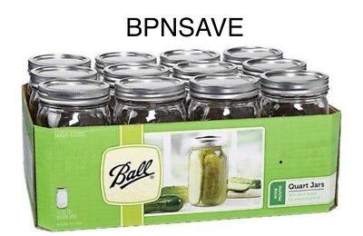 12 Pk Ball Mason Canning Jars Clear 32 Oz Quart Lids Bands Wide Mouth Glasses