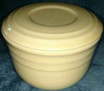 """Vintage Oxford Stoneware buttercup yellow Bowl Crock With Lid 5"""" Diameter"""