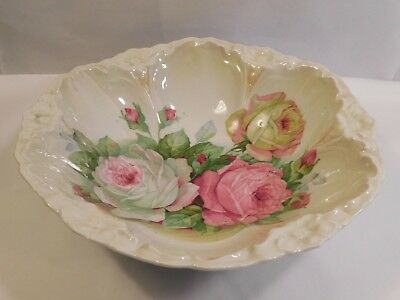 "Antique Porcelain Roses Bowl 11"" Marked GERMANY"