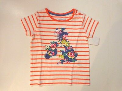 NWT $28 Mini Boden girl's size 1.5 - 2 years Hot Coral British stripe tee