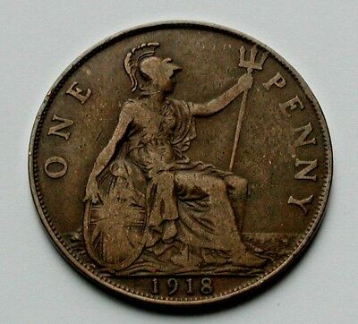 1918 UK (Great Britain) George V Coin - One Penny (1d) - brown