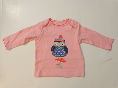 NWT $28 Mini Boden girl's Blush/Owl l/s top, size 3 - 6 months