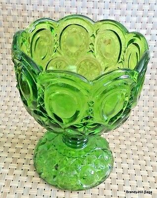 LE Smith Glass Moon Stars Footed Compote Open Candy Dish Emerald Green Vintage
