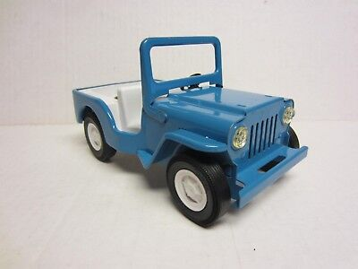 Vintage 1960's TONKA Blue Jeep Runabout Pressed Steel Toy Dispatcher Run About