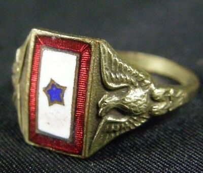 Antique WWI 1917 Silver Son In Service Enamel Eagle Crossed Rifle Mother's Ring