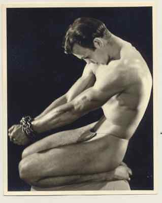 """Western Photography Guild, Male physique photograph, chained,  4x5"""", #1 of 11"""