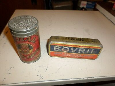 2 Vintage Royal Baking Powder 4oz Tin Can & embossed Lid Bovril Beef Cube tin
