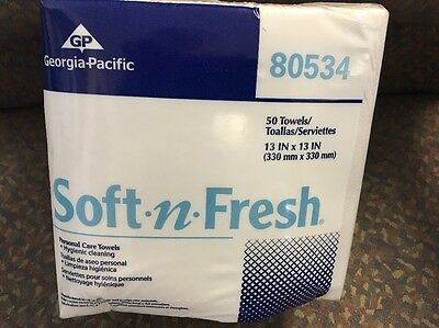Georgia-Pacific 80534 Disposable Soft-n-Fresh Patient Care Wash Cloths - 50 ct