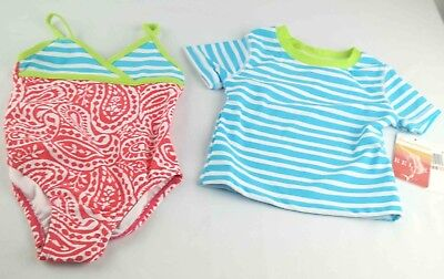 Girls Tommy Bahama Bathing Suit Toddler Size 2 T Paisley Blue Striped NWT