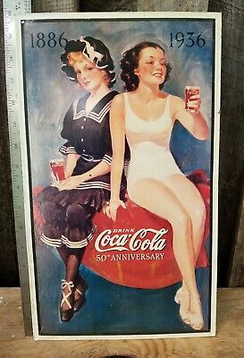 Coca Cola Sign Tin 1993  Vintage Garage Bar Decor Old 1886-1936 50th Anniversary